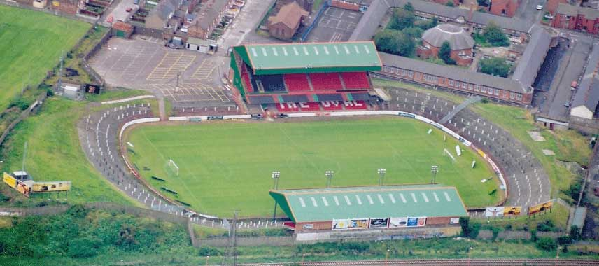 Aerial view of the Oval in Belfast