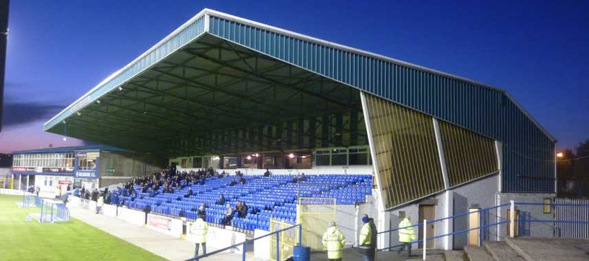 The main stand of The Showgronds in Coleraine