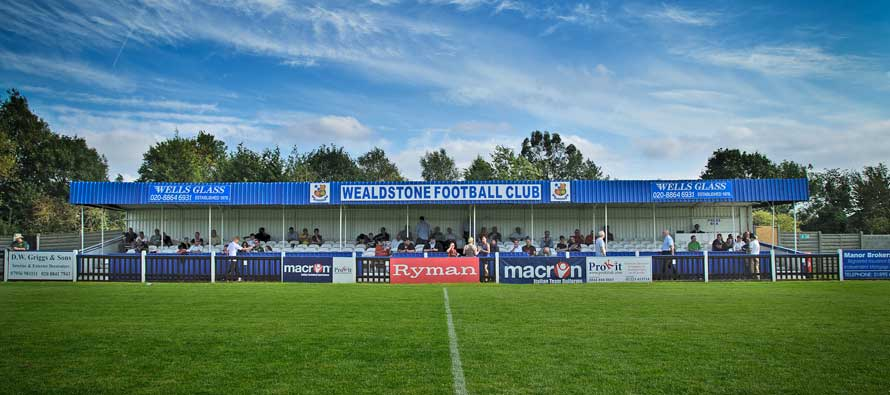 Main stand at Wealdstone's Vale football ground