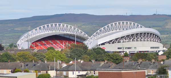 The exterior of Thomond Park as seen from the wider neighbourhood area.