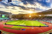 Inside Tofiq Bahramov Staadium during a match
