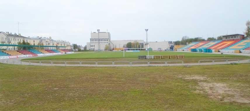 View overlooking Torpedo Stadium's pitch in Minsk