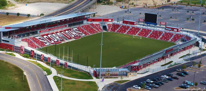 Aerial view of Toyota Field Soccer Stadium