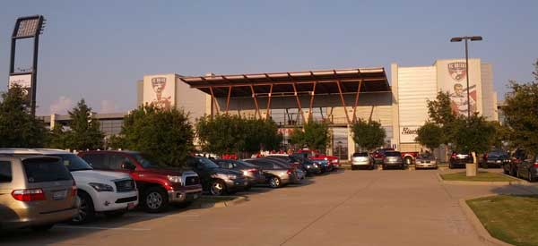 Toyota Stadium exterior as seen from on-site parking lot.