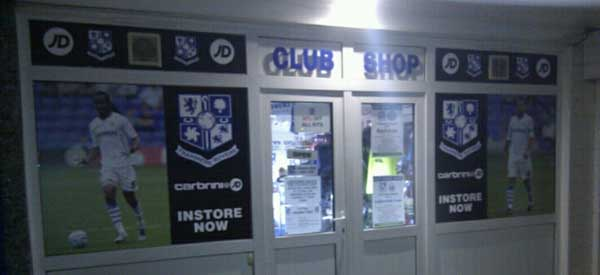 Exterior of Tranmre Rovers clup shop night
