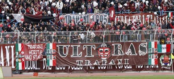Trapani Calcio supporters inside the stadium