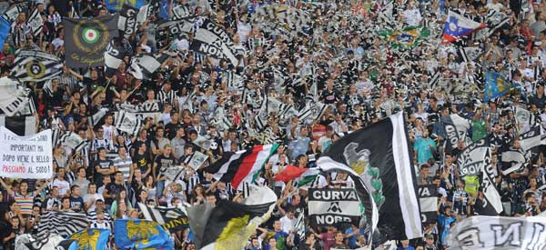 Udinese supporters inside the stadium