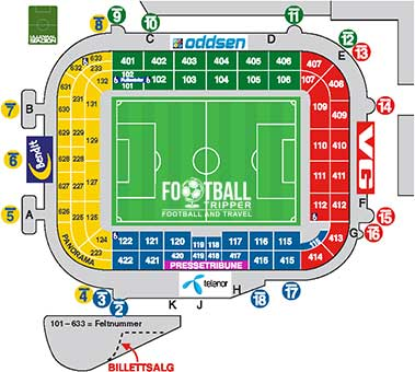 Seating plan for Norway's National Stadium