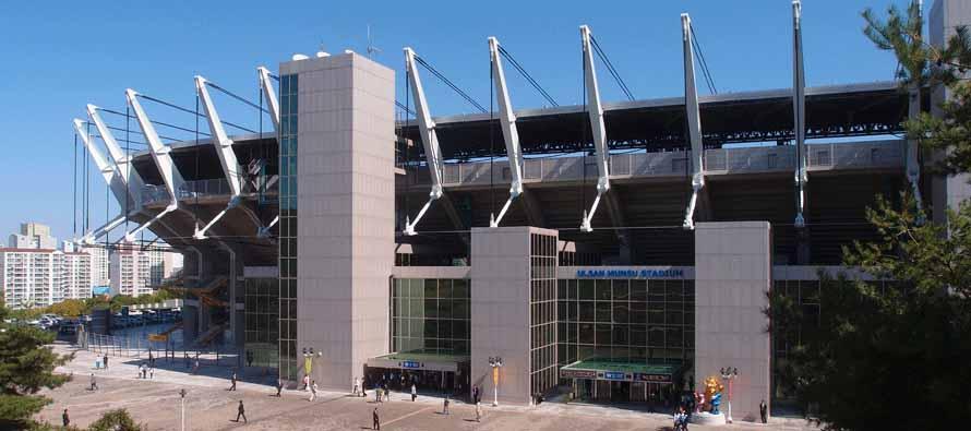 Exterior of the large Ulsan Munsu Stadium