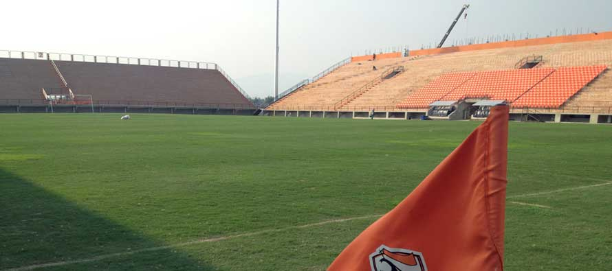 A view of the empty pitch at Chiangrai Stadium