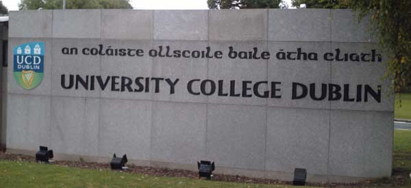One of the main welcome signs to University College Dublin's Campus.