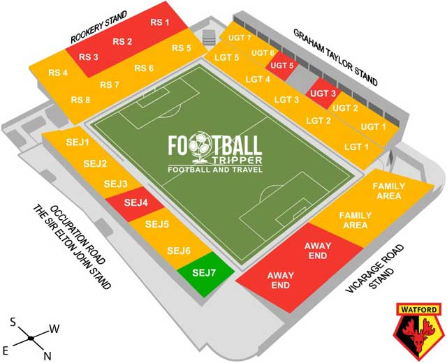 Watford FC New Vicarage Road Seating Plan