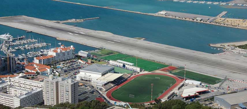Aerial view of Gibraltar's Victoria Stadium
