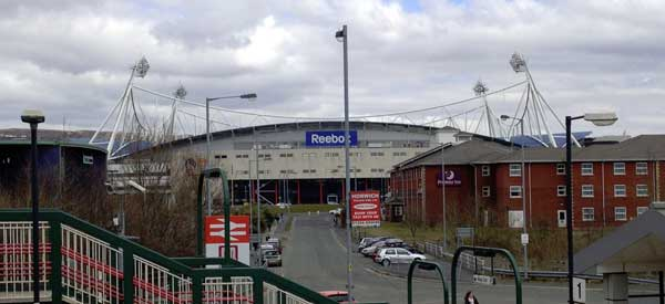 The view from Horwich Parkway Station when The Macron was once known as the Reebok Stadium.