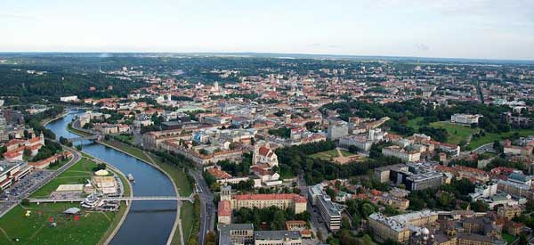 Aerial view of Vilnius Old town