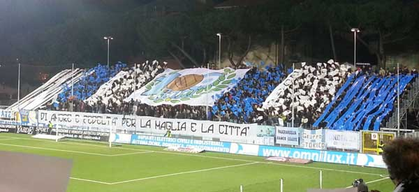 Virtus Entella supporters inside the stadium