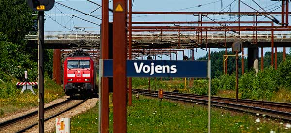 Vojens Railway Station sign
