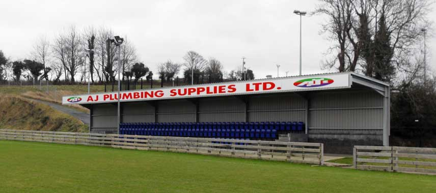 The main stand at Warrenpoint Town FC's stadium