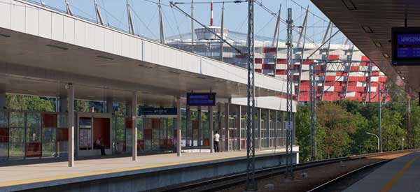 Wyjscie station view of the stadium