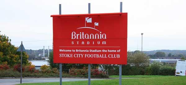 Britannia Stadium welcome sign