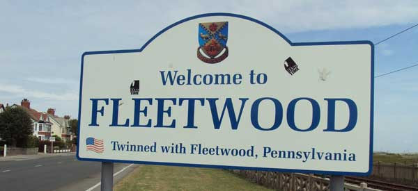 Welcome sign to Fleetwood Town