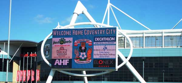The high-tech entrance sign to Coventry's Ricoh Arena.