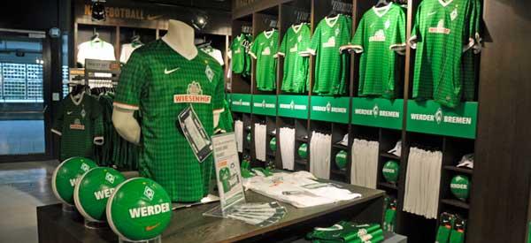 Interior of Werder Bremen's club shop
