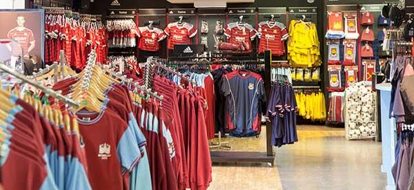 The interior of West Ham's club shop