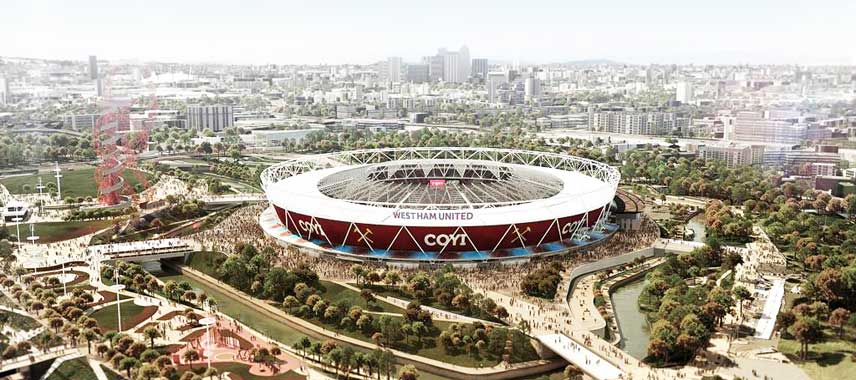 Aerial view of West Ham's Olympic Stadium