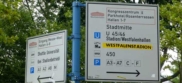 Road signs for Westfalenstadion