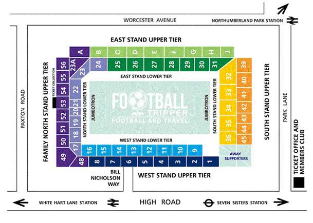 White Hart Lane Seating Plan