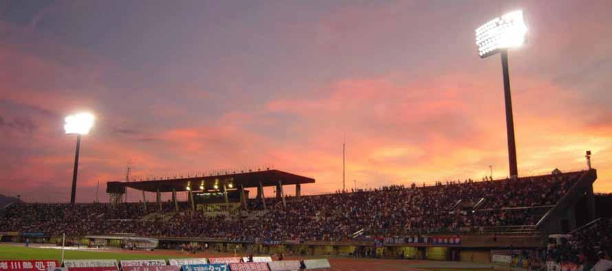 Yamanashi Chuo Bank Stadium sunset