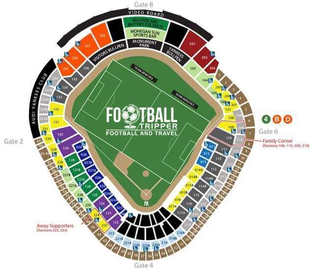 Yankee Stadium seating plan for soccer matches