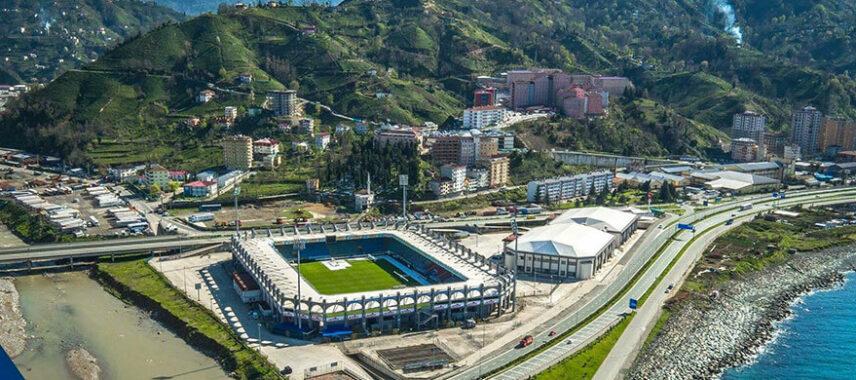 Aerial view of Yeni Rize Sehir Stadium