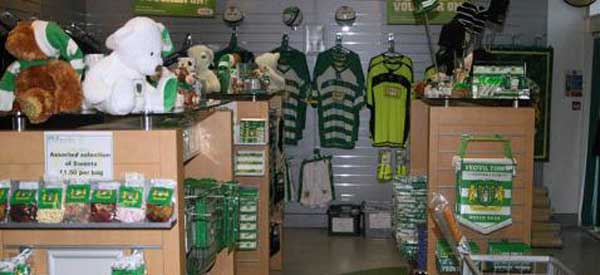 The interior of Yeovil Town's club shop
