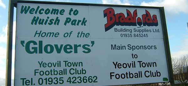 Entrance sign of Yeovil Town's stadium