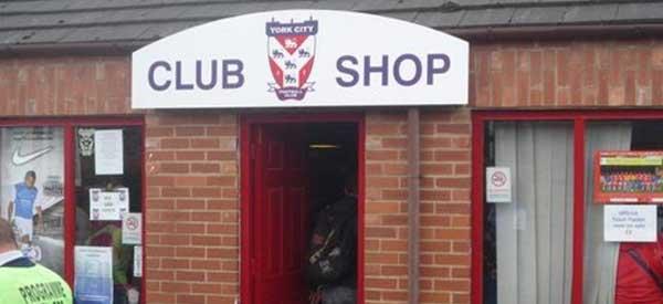 Exterior of York City FC club shop