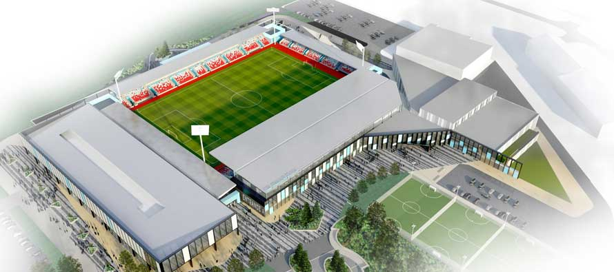 Aerial concept of York city stadium