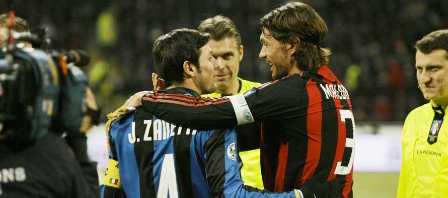 Zanetti and Maildini Milan rivals
