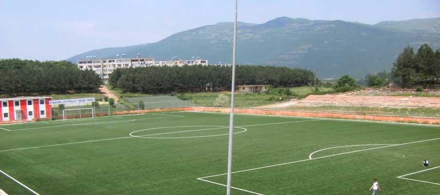 Corner view of the pitch at Zeqir Ymeri Stadium